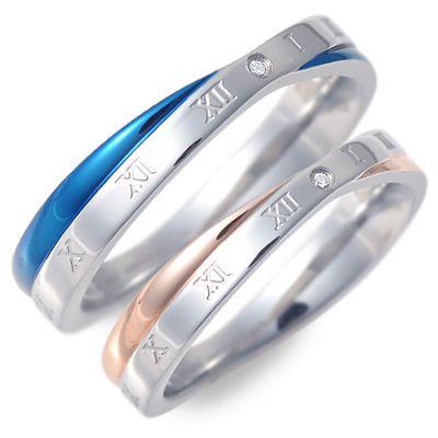 ペアリング white clover ホワイトクローバー ステンレス ダイヤモンド ブルー ブランド