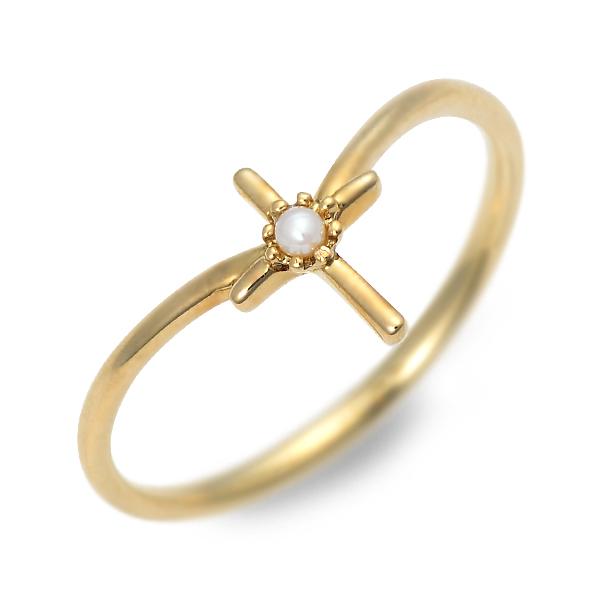 アチエ リング 指輪 6月誕生石 パール・真珠 イエロー 20代 30代 彼女 レディース クロス 母の日