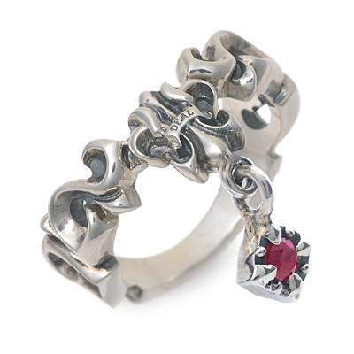 ディールデザイン DEAL DESIGN シルバー リング 指輪 ルビー ホワイト 20代 30代 彼氏 メンズ