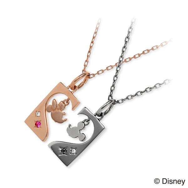 THE KISS Disney シルバー ペアネックレス ダイヤモンド ハート 彼女 彼氏 レディース メンズ カップル ペア 誕生日プレゼント 記念日 ギフトラッピング ザキッス ザキス ザ・キッス ディズニー Disneyzone ミッキーマウス ミニーマウス 送料無料 ホワイトデー