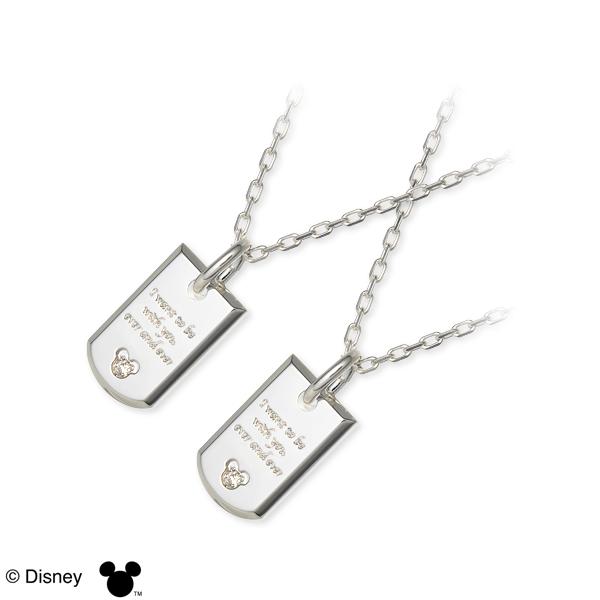 ディズニー Disney THE KISS ザ・キッス シルバー ペアネックレス ホワイト 人気 disney zone ブランド
