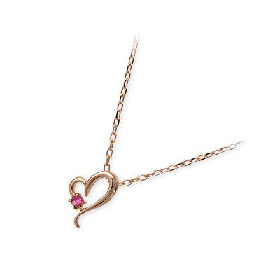 Goutte Dor グートドール ピンクゴールド ネックレス シンプル ルビー ピンク 彼女 レディース ハート 母の日 2020
