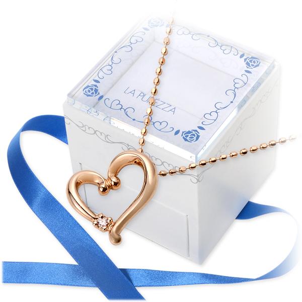 送料無料 LA PUREZZA ピンクゴールド ネックレス ダイヤモンド ハート 20代 30代 彼女 レディース 女性 誕生日プレゼント 記念日 ギフト ラッピング ラ・プレッツァ 母の日 花以外
