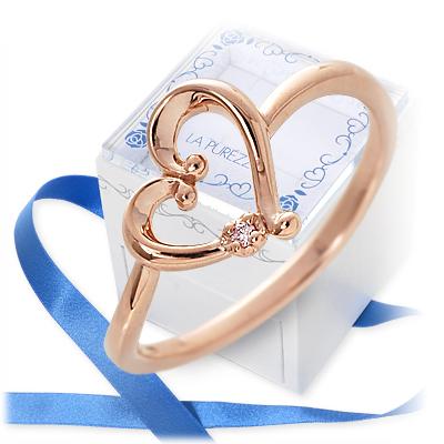 送料無料 LA PUREZZA ピンクゴールド リング 指輪 婚約指輪 結婚指輪 エンゲージリング ダイヤモンド ハート 名入れ 刻印 彼女 レディース 女性 誕生日プレゼント 記念日 ギフトラッピング ラ・プレッツァクリスマス 12月