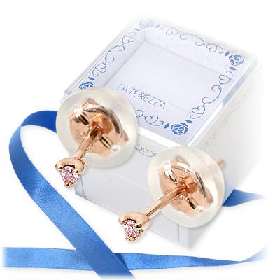 LA PUREZZA ピンクゴールド ピアス ダイヤモンド 彼女 レディース 女性 誕生日プレゼント 記念日 ギフトラッピング ラ・プレッツァ 送料無料