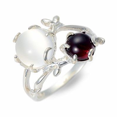UZUOU ウズオウ シルバー リング 指輪 ガーネット ホワイト 20代 30代 彼女 レディース 母の日 花以外