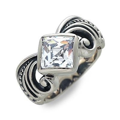 M's collection エムズコレクション シルバー リング 指輪 キュービック グレー 彼氏 メンズ