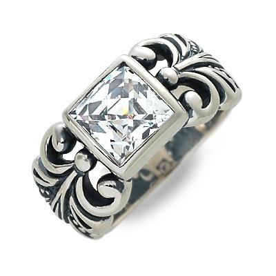 M's collection エムズコレクション シルバー リング 指輪 キュービック グレー 彼氏 メンズ 父の日