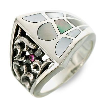 SAINTS Design セインツ シルバー リング 指輪 ルビー ホワイト 20代 30代 彼氏 メンズ