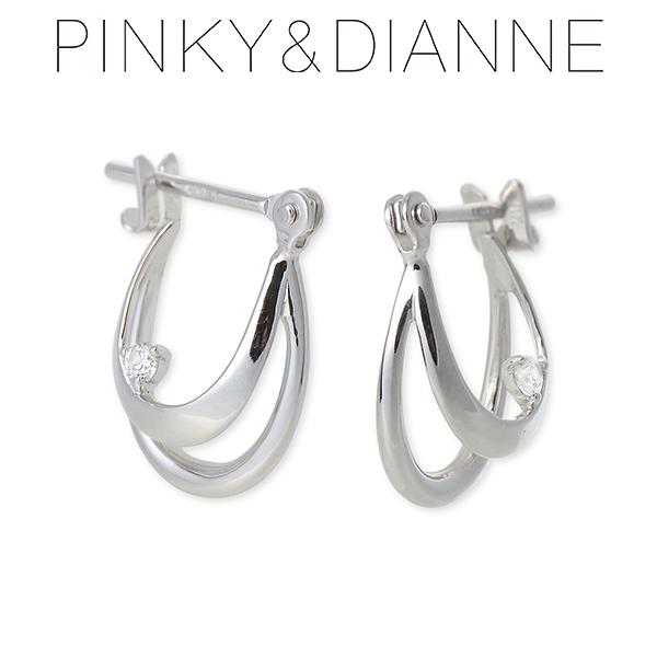Pinky&Dianne ピンキーアンドダイアン ホワイトゴールド ピアス キュービック ホワイト 彼女 レディース
