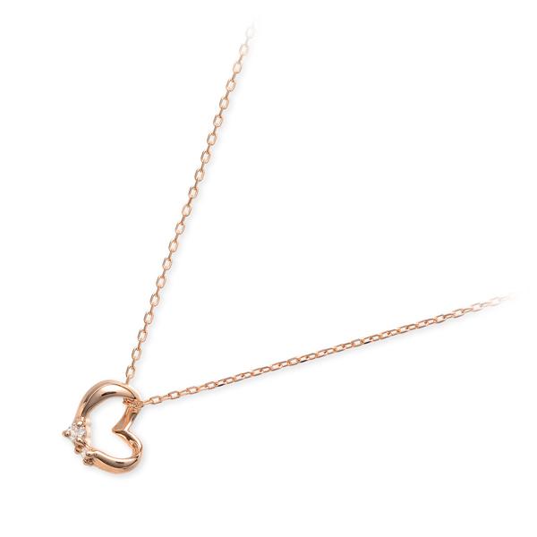 送料無料 WISP ピンクゴールド ネックレス シンプル ダイヤモンド ハート 彼女 レディース 女性 誕生日プレゼント 記念日 ギフトラッピング ウィスプ 母の日 2020