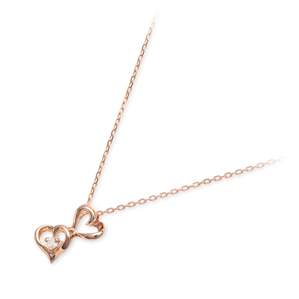 送料無料 WISP ピンクゴールド ネックレス ダイヤモンド ハート 20代 30代 彼女 レディース 女性 誕生日プレゼント 記念日 ギフトラッピング ウィスプ 母の日