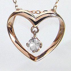 ハート ダイヤモンド ネックレス 4月誕生石 0.1ct ピンクゴールドK10 ハート ペンダント 記念日 ギフト ネックレス レディース チェーン シンプル ホワイトデー プレゼント