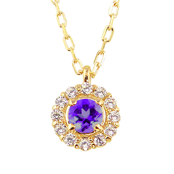 アメジスト 取り巻き ネックレス ダイヤモンド 2月誕生石 18金 ペンダント カラーストーン 誕生日 ネックレス レディース チェーン シンプル ホワイトデー プレゼント