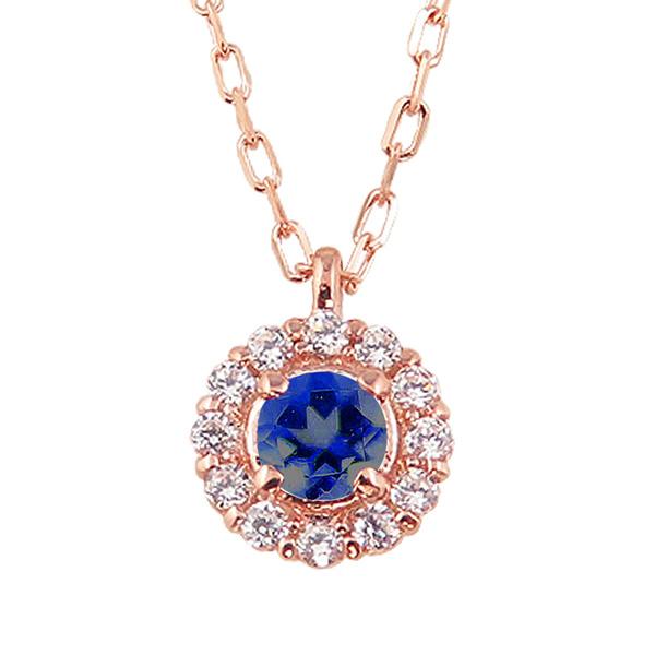 サファイア 取り巻き ネックレス ダイヤモンド 9月誕生石 10金 ペンダント カラーストーン 誕生日 ネックレス レディース チェーン シンプル ホワイトデー プレゼント