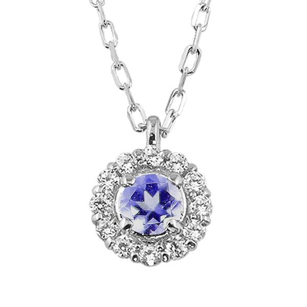 タンザナイト 取り巻き ネックレス ダイヤモンド 12月誕生石 プラチナ Pt900 ペンダント カラーストーン 誕生日 ネックレス レディース チェーン シンプル ホワイトデー プレゼント