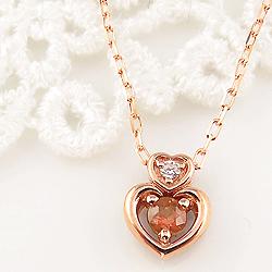 ガーネット ダブルハート ネックレス ダイヤモンド 1月誕生石 10金 ペンダント カラーストーン 誕生日プレゼント ギフト