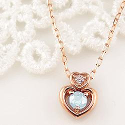アクアマリン ダブルハート ネックレス ダイヤモンド 3月誕生石 18金 ペンダント カラーストーン 誕生日 ネックレス レディース チェーン シンプル ホワイトデー プレゼント
