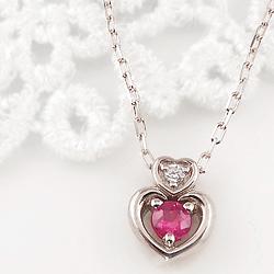 ルビー ダブルハート ネックレス ダイヤモンド 7月誕生石 プラチナ Pt900 ペンダント カラーストーン 誕生日 ネックレス レディース チェーン シンプル ホワイトデー プレゼント
