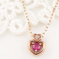 ルビー ダブルハート ネックレス ダイヤモンド 7月誕生石 18金 ペンダント カラーストーン 誕生日プレゼント ギフト