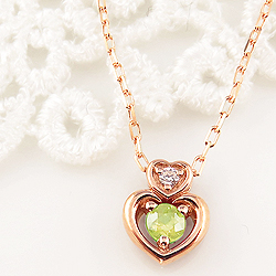 ペリドット ダブルハート ネックレス ダイヤモンド 8月誕生石 10金 ペンダント カラーストーン 誕生日プレゼント ギフト