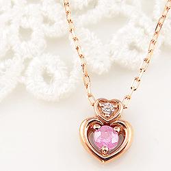 ピンクトルマリン ダブルハート ネックレス ダイヤモンド 10月誕生石 10金 ペンダント カラーストーン 誕生日プレゼント ギフト