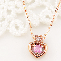 ピンクトルマリン ダブルハート ネックレス ダイヤモンド 10月誕生石 18金 ペンダント カラーストーン 誕生日 ネックレス レディース チェーン シンプル ホワイトデー プレゼント