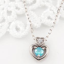 ブルートパーズ ダブルハート ネックレス ダイヤモンド 11月誕生石 プラチナ Pt900 ペンダント カラーストーン 誕生日 ネックレス レディース チェーン シンプル ホワイトデー プレゼント