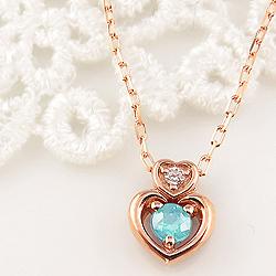 ブルートパーズ ダブルハート ネックレス ダイヤモンド 11月誕生石 10金 ペンダント カラーストーン 誕生日プレゼント ギフト