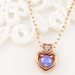 タンザナイト ダブルハート ネックレス ダイヤモンド 12月誕生石 10金 ペンダント カラーストーン 誕生日 ネックレス レディース チェーン シンプル ホワイトデー プレゼント
