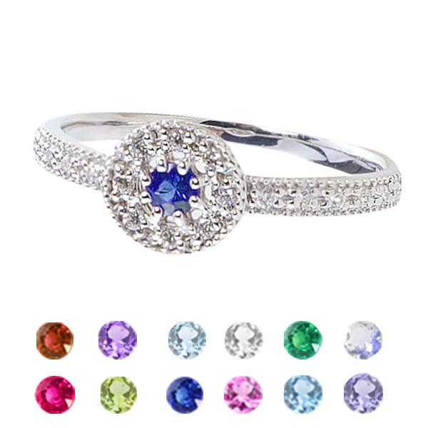 カラーストーンリング アンティーク プラチナ900 指輪 Pt900 誕生石 取巻き ダイヤモンド ピンキーリング ファランジリング ミディリング ギフト