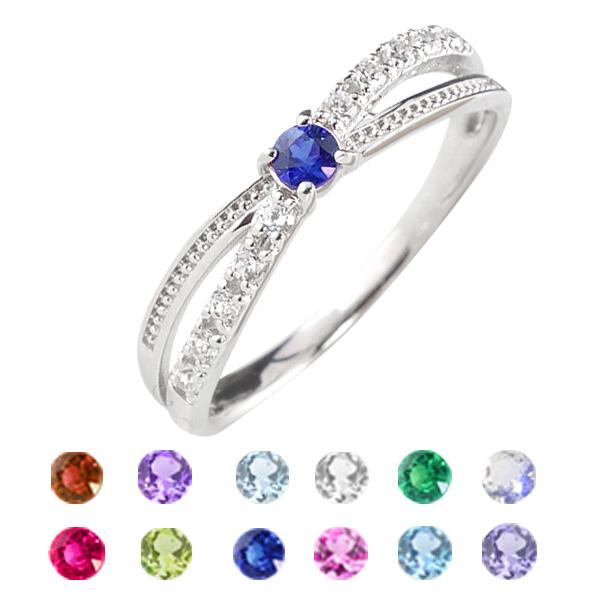 プラチナ リング 誕生石 カラーストーン クロス デザイン 指輪 ダイヤモンド ピンキーリング ファランジリング ミディリング ギフト ホワイトデー