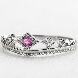 プラチナ900ティアラリング誕生石 ピンクトルマリン10月誕生石 ピンキーリング カラーストーン 天然ダイヤモンド