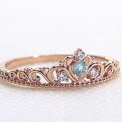 ピンクゴールドK10ティアラリング アクアマリンピンキーリング カラーストーン 天然ダイヤモンド