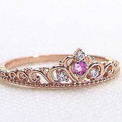 ピンクゴールドK18 ティアラリング ピンクトルマリン 10月誕生石 ピンキーリング カラーストーン ダイヤモンド