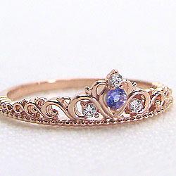 ピンクゴールドK10 ティアラリング タンザナイト 12月誕生石 ピンキーリング カラーストーン ダイヤモンド