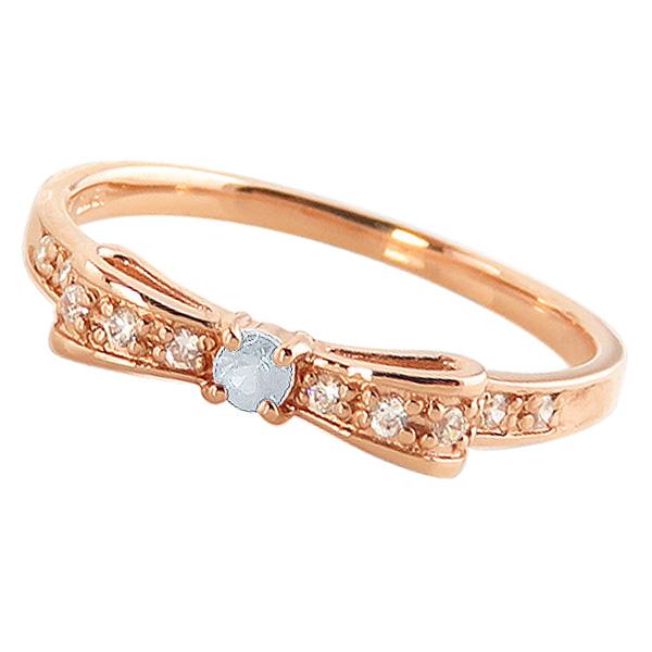 アクアマリンリング 3月誕生石 10金 リボンモチーフ ダイヤモンド K10 ピンキーリング カラーストーン ギフト