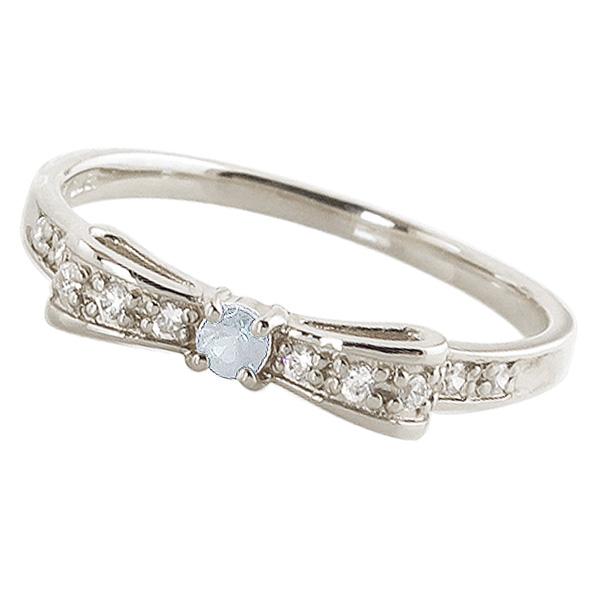 アクアマリンリング 3月誕生石 プラチナ リボンモチーフ ダイヤモンド Pt900 ピンキーリング カラーストーン ギフト ホワイトデー