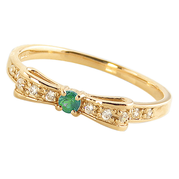 エメラルドリング 5月誕生石 18金 リボンモチーフ ダイヤモンド K18 ピンキーリング カラーストーン ギフト クリスマス プレゼント xmas