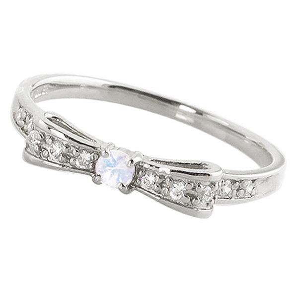 ブルームーンストーンリング 6月誕生石 プラチナ リボンモチーフ ダイヤモンド Pt900 ピンキーリング カラーストーン ギフト ホワイトデー