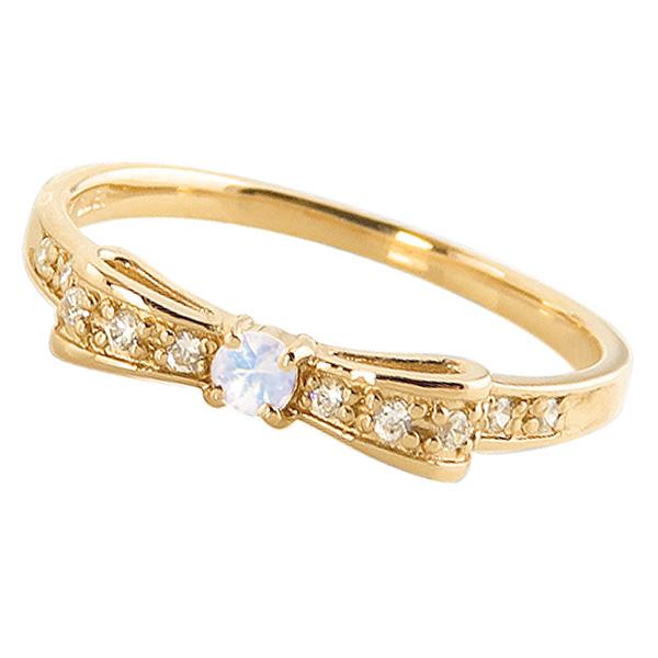 ブルームーンストーンリング 6月誕生石 18金 リボンモチーフ ダイヤモンド K18 ピンキーリング カラーストーン 新生活 在宅 ファッション