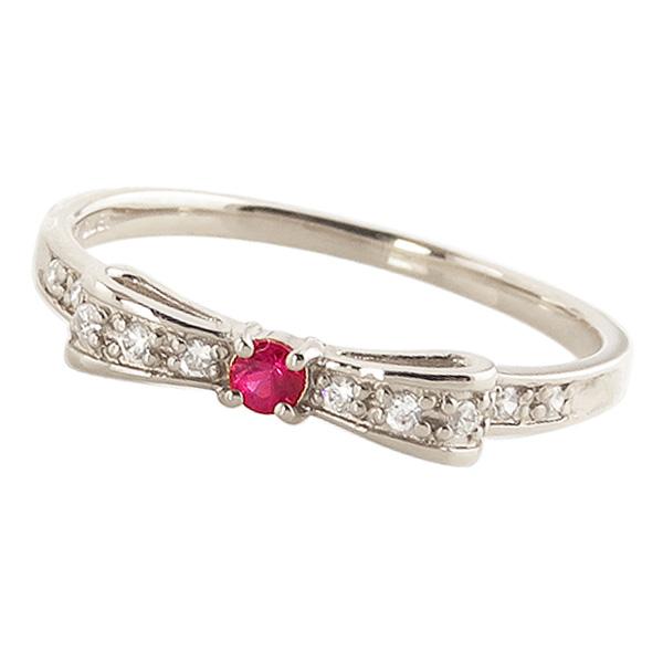 ルビーリング 7月誕生石 プラチナ リボンモチーフ ダイヤモンド Pt900 ピンキーリング カラーストーン ギフト ホワイトデー