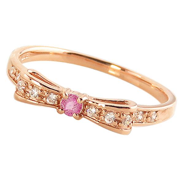 ピンクトルマリンリング 10月誕生石 10金 リボンモチーフ ダイヤモンド K10 ピンキーリング カラーストーン ギフト