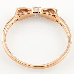 タンザナイトリング 12月誕生石 10金 リボンモチーフ ダイヤモンド K10 ピンキーリング カラーストーン 新生活 在宅 ファッションtrdhsCxQB