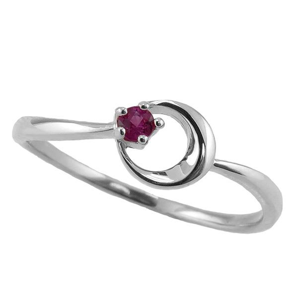 ガーネットリング 1月誕生石 プラチナ 月モチーフ moon 指輪 Pt900 ピンキーリング カラーストーン ギフト