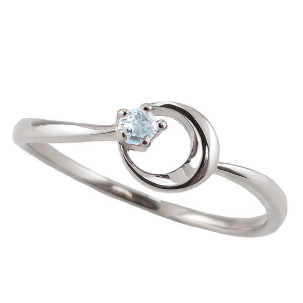 アクアマリンリング 3月誕生石 プラチナ 月モチーフ moon 指輪 Pt900 ピンキーリング カラーストーン ギフト