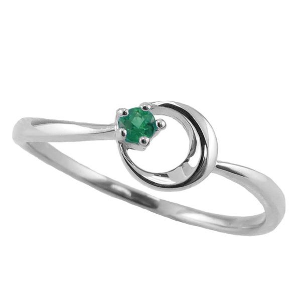エメラルドリング 5月誕生石 プラチナ 月モチーフ moon 指輪 Pt900 ピンキーリング カラーストーン ギフト