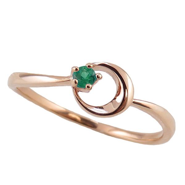 エメラルドリング 5月誕生石 10金 月モチーフ moon 指輪 K10 ピンキーリング カラーストーン ギフト