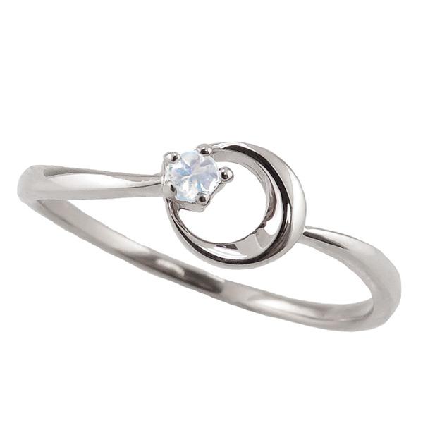 ブルームーンストーンリング 6月誕生石 プラチナ 月モチーフ moon 指輪 Pt900 ピンキーリング カラーストーン ギフト