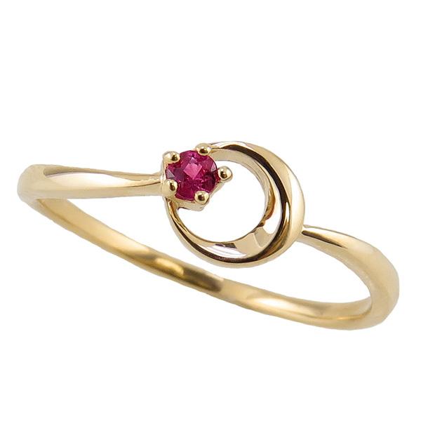 ルビーリング 7月誕生石 18金 月モチーフ moon 指輪 K18 ピンキーリング カラーストーン ギフト ホワイトデー